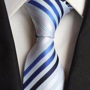 Classy Men Blue Multi-Striped Silk Tie
