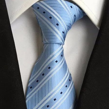 Classy Men Light Blue Striped Plaid Silk Tie