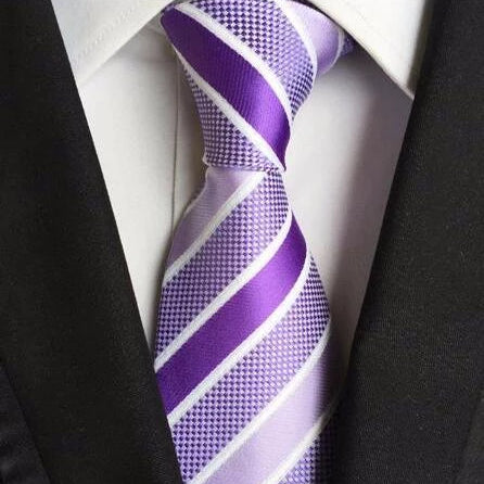 Classy Men Purple Striped Silk Tie