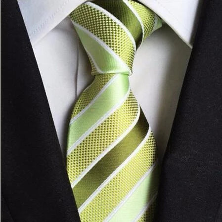 Classy Men Green Striped Silk Tie