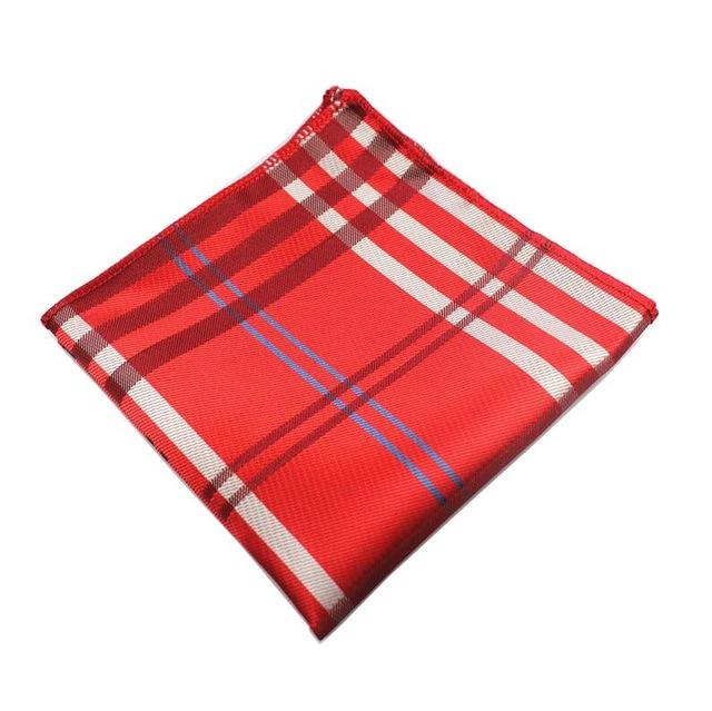 Classy Men Pocket Square Red Madras - Classy Men Collection
