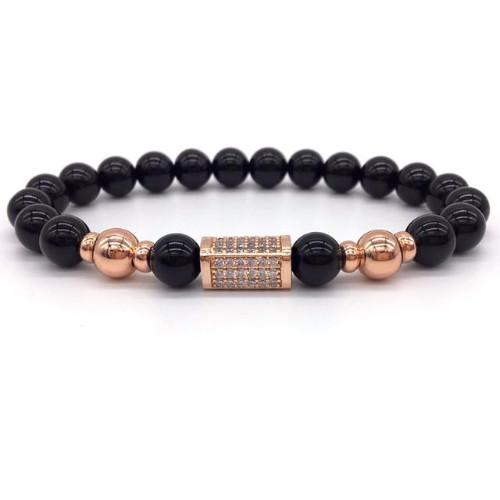 Classy Men Rose Gold/Black Bar Bracelet - Classy Men Collection