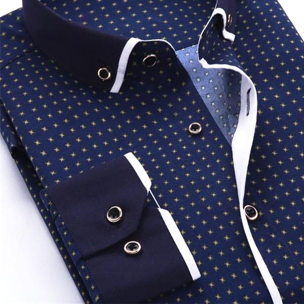 Casual Navy Blue Dress Shirt | Slim Fit | Sizes 38-45 - Classy Men Collection
