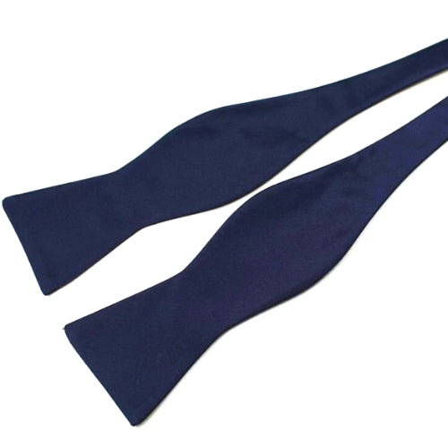Classy Men Navy Blue Silk Self-Tie Bow Tie