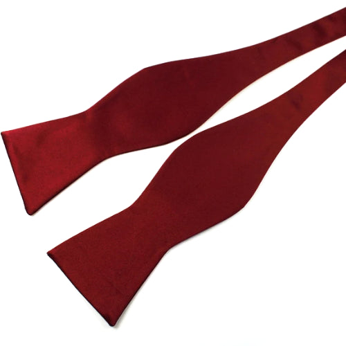 Classy Men Wine Red Silk Self-Tie Bow Tie