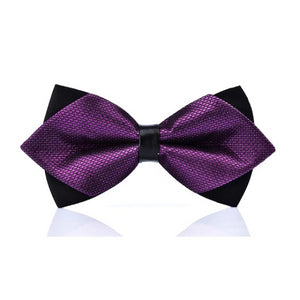 Classy Men Violet Carbon Pre-Tied Diamond Bow Tie