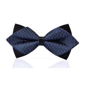 Classy Men White Blue Pre-Tied Diamond Bow Tie