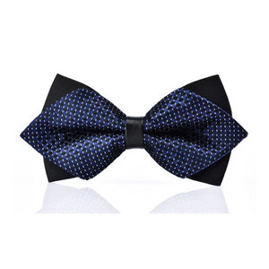 Classy Men Blue White Pre-Tied Diamond Bow Tie - Classy Men Collection