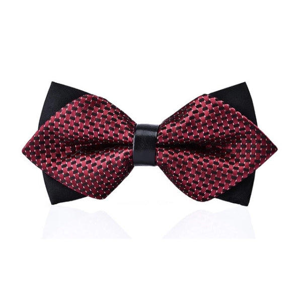 Classy Men Purple Pattern Pre-Tied Diamond Bow Tie