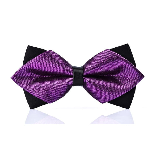 Classy Men Shiny Violet Pre-Tied Diamond Bow Tie