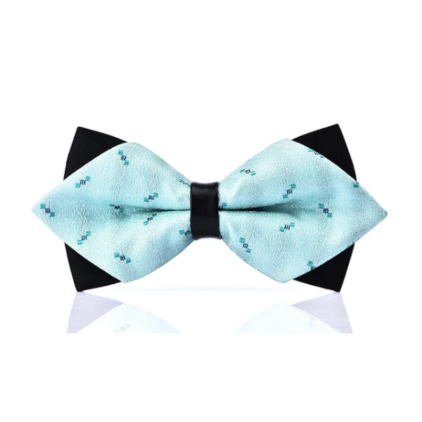 Classy Men Light Blue Pre-Tied Diamond Bow Tie