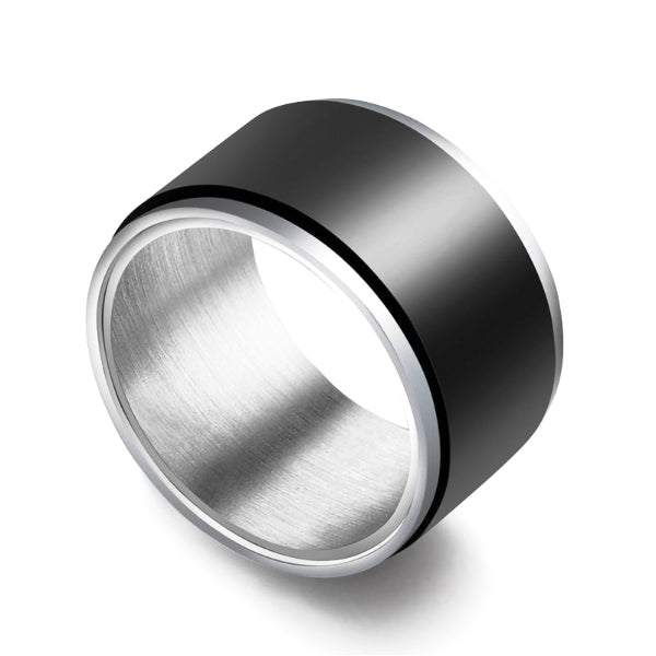Classy Men Wide Matte Black Band Ring