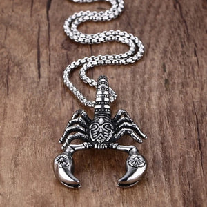 Mens stainless steel scorpion pendant necklace