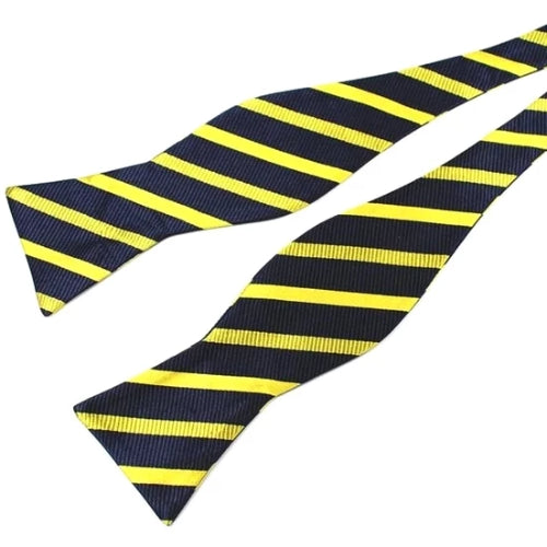 Classy Men Yellow Navy Silk Self-Tie Bow Tie