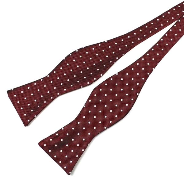 Classy Men Wine Red Dotted Silk Self-Tie Bow Tie