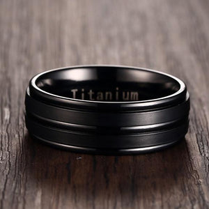 Classy Men Black Channeled Titanium Ring - Classy Men Collection