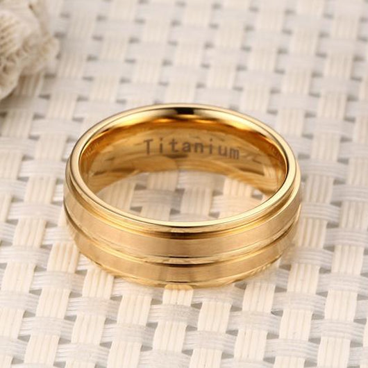 Classy Men Gold Channeled Titanium Ring - Classy Men Collection