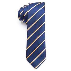 Classy Men Gold Striped Skinny Tie