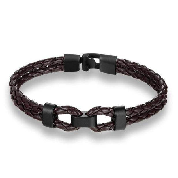 Classy Men Dark Brown Leather Bracelet - Classy Men Collection
