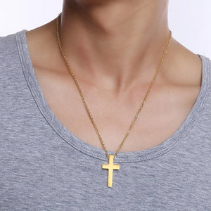 Classy Men Simple Golden Cross Pendant Necklace