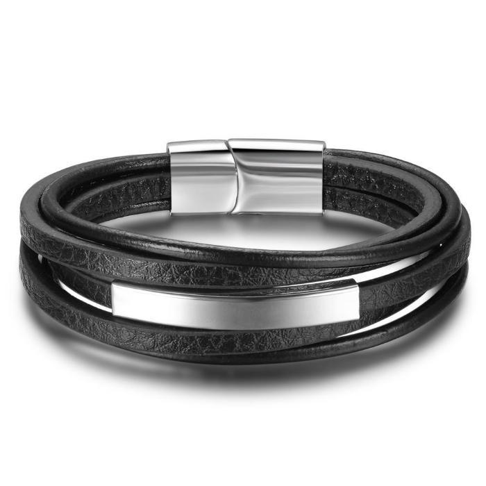 Classy Men Leather & Stainless Steel Bracelet - Classy Men Collection