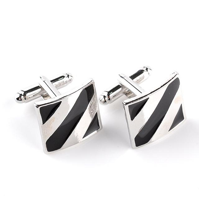 Classy Men Cufflinks Platinum Obsidian Stripe - Classy Men Collection