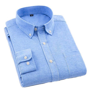 Plain Blue Oxford Dress Shirt | Regular Fit | Sizes 38-44
