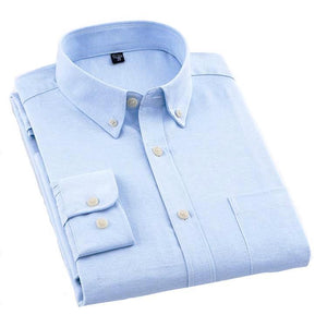 Plain Light Blue Oxford Dress Shirt | Regular Fit | Sizes 38-44