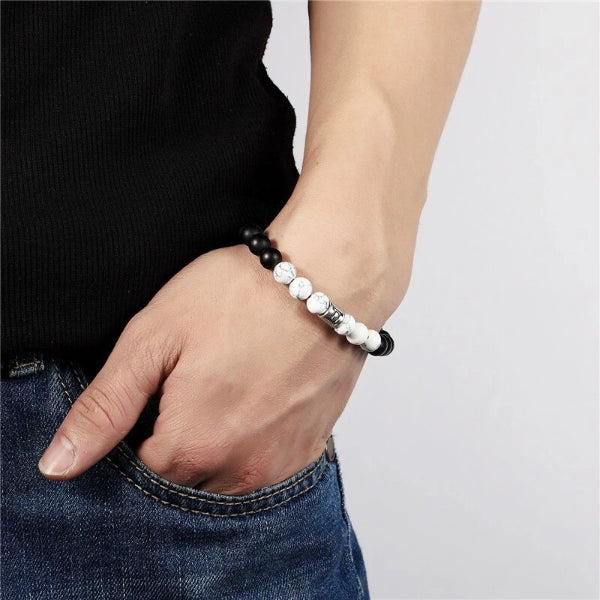 Classy Men Cancer White Beaded Zodiac Bracelet