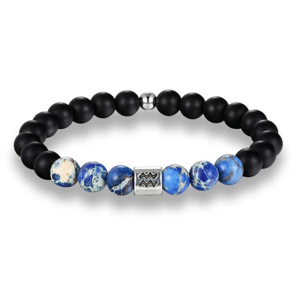 Classy Men Aquarius Blue Beaded Zodiac Bracelet