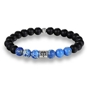 Classy Men Aries Blue Beaded Zodiac Bracelet
