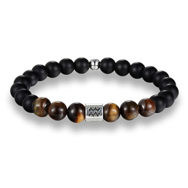 Classy Men Aquarius Brown Beaded Zodiac Bracelet