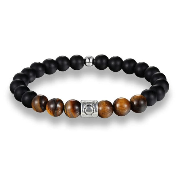 Classy Men Taurus Brown Beaded Zodiac Bracelet