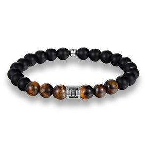 Classy Men Gemini Brown Beaded Zodiac Bracelet