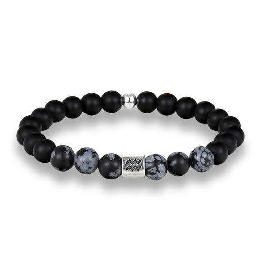 Classy Men Aquarius Black Beaded Zodiac Bracelet