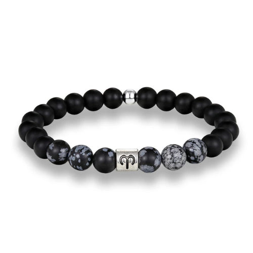 Classy Men Aries Black Beaded Zodiac Bracelet