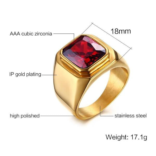 Classy Men Gold Plated Ruby Ring - Classy Men Collection