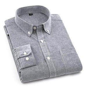 Plain Grey Oxford Dress Shirt | Regular Fit | Sizes 38-44