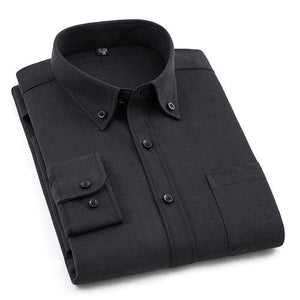 Plain Black Oxford Dress Shirt | Regular Fit | Sizes 38-44