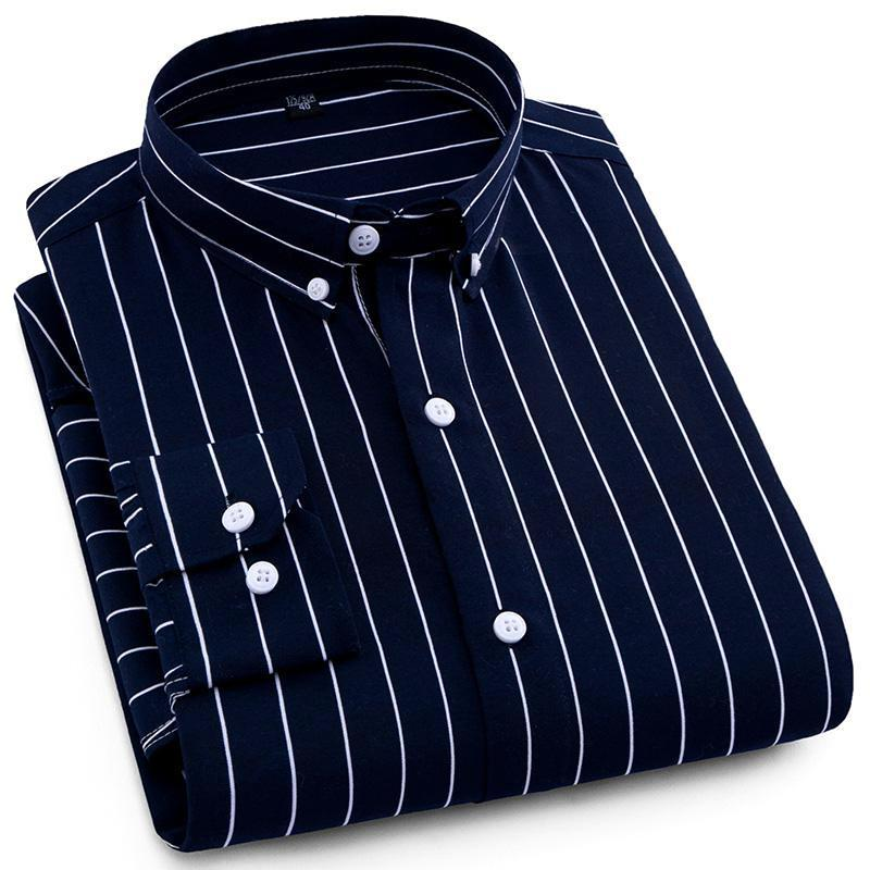 Dark Blue Pinstripe Dress Shirt | Modern Fit | Sizes 38-44 - Classy Men Collection