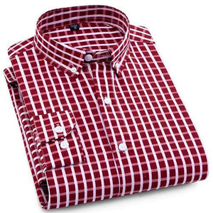 Red Checkered Casual Dress Shirt | Modern Fit | Sizes 38-44