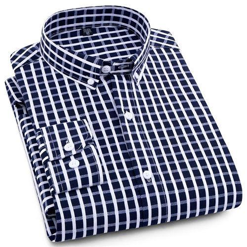 Blue Checkered Casual Dress Shirt | Modern Fit | Sizes 38-44 - Classy Men Collection