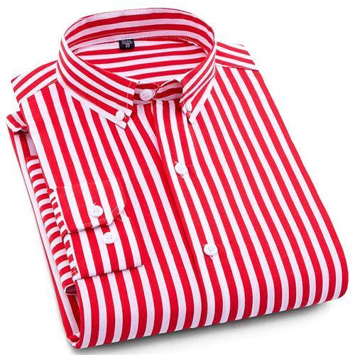 Red Striped Casual Dress Shirt | Modern Fit | Sizes 38-44