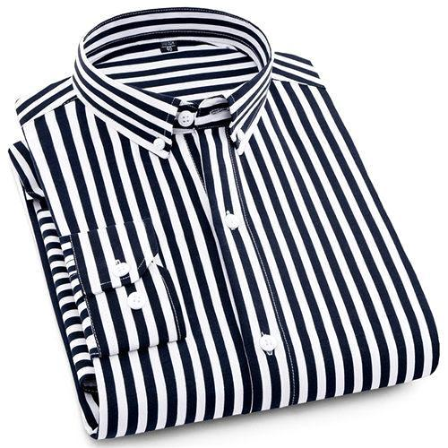 Black Striped Casual Dress Shirt | Modern Fit | Sizes 38-44 - Classy Men Collection