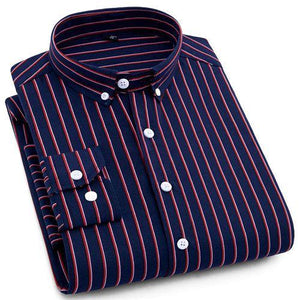 Navy Red Casual Dress Shirt | Modern Fit | Sizes 38-44