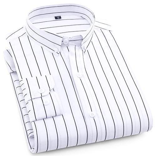 White Pinstripe Casual Dress Shirt | Modern Fit | Sizes 38-44