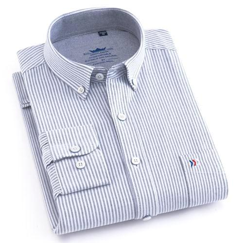 Grey Striped Oxford Dress Shirt | Regular Fit | Sizes 38-44 - Classy Men Collection