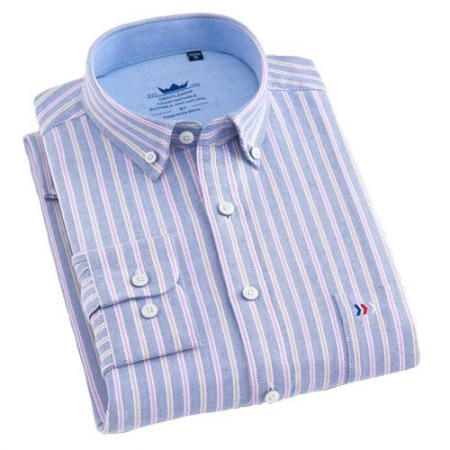 Powder Blue Striped Oxford Dress Shirt | Regular Fit | Sizes 38-44