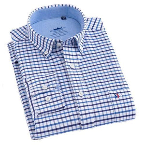Blue Fine Checkered Oxford Dress Shirt | Regular Fit | Sizes 38-44 - Classy Men Collection