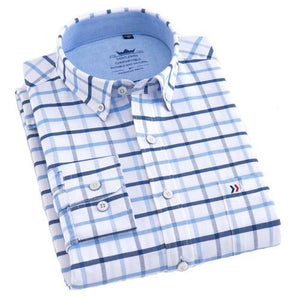 Blue Checkered Oxford Dress Shirt | Regular Fit | Sizes 38-44 - Classy Men Collection